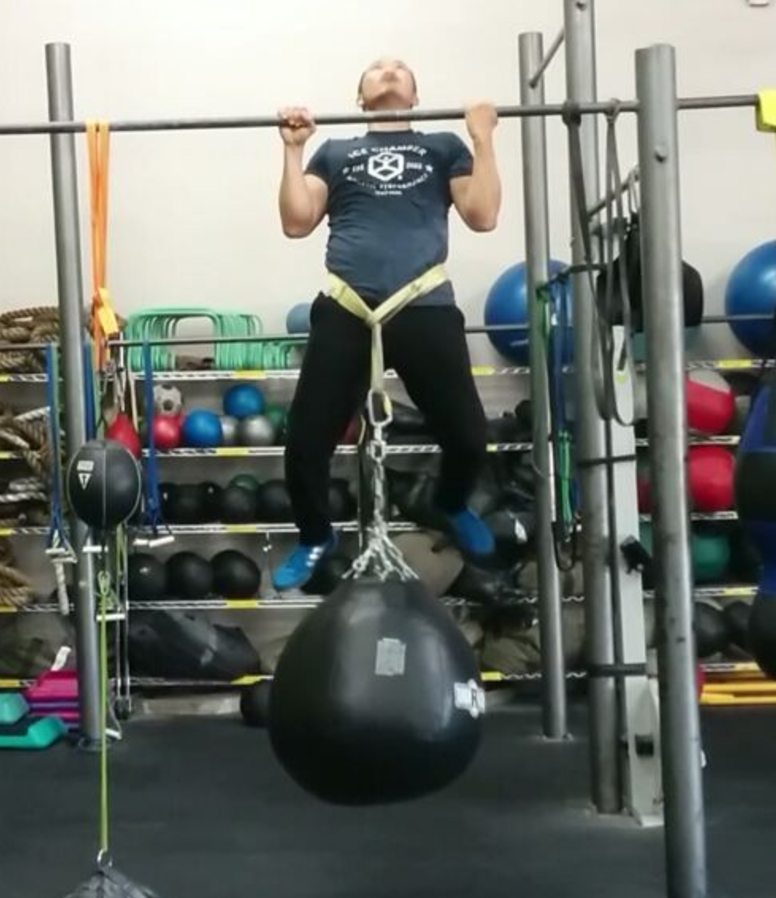 Steve's pullups with Punching Bag